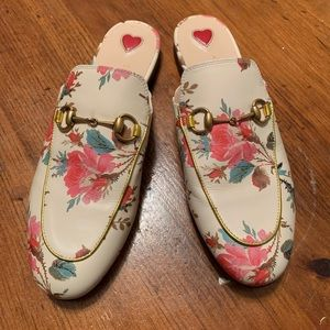 Gucci Princetown Canvas Print Slipper.  Size 38